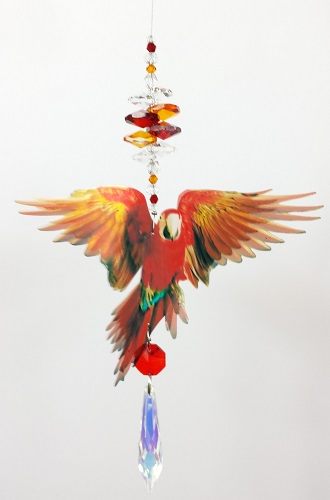 red macaw suncatcher- small size