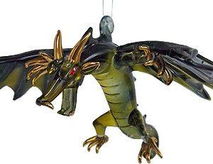 blown glass dragon green black