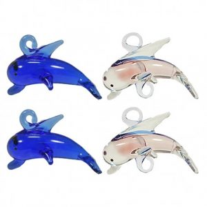 4 glass dolphin pendants