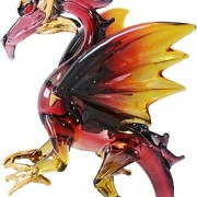 blown glass red black dragon