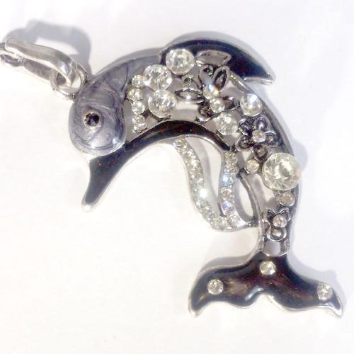 rhinestone dolphin charm