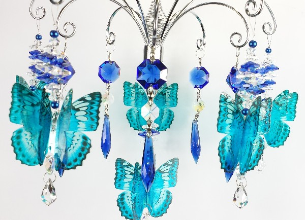 blue butterfly crystal suncatcher chandelier 2