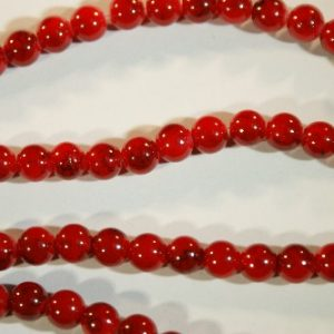 8mm round beads red black