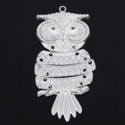 large owl charm silver plated