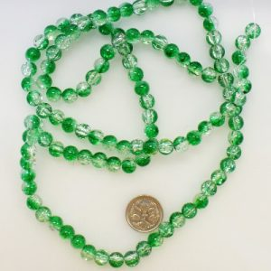8mm glass crackle beads green clear
