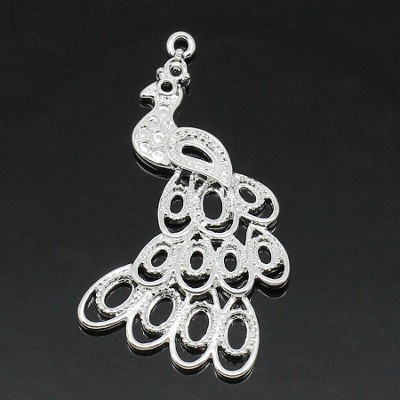 small silver plated peacock charm