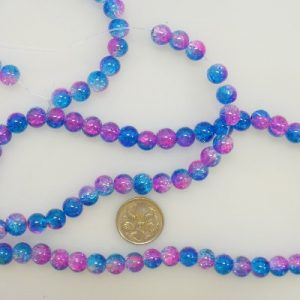 8mm glass crackle beads pink blue