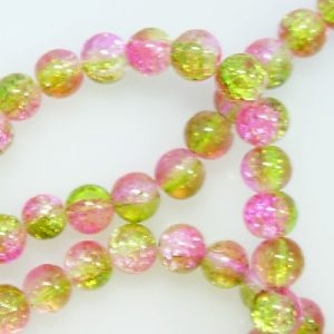 8mm glass crackle beads pink green