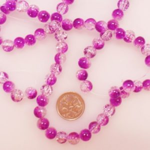 8mm glass crackle beads purple clear