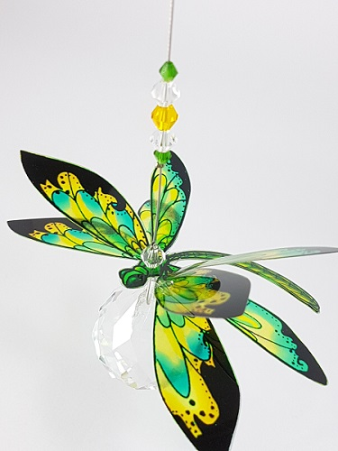 dragonfly suncatcher green yellow