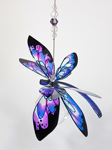 dragonfly suncatcher pink purple