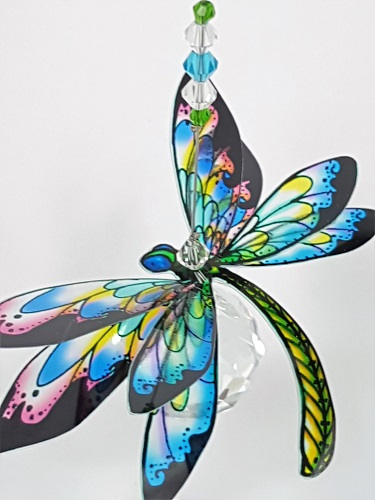 dragonfly suncatcher skyblue green