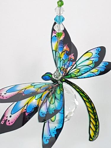 dragonfly suncatcher skyblue green