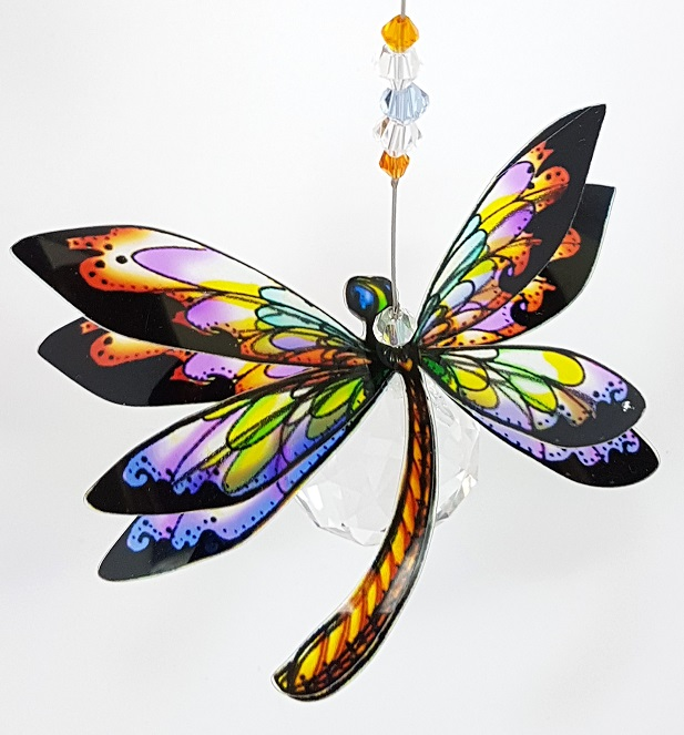 dragonfly suncatcher orange and lilac