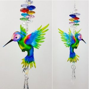 rainbow hummingbird crystal suncatcher