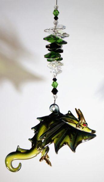 blown glass dragon suncatcher green black
