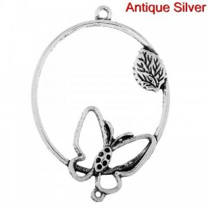 Butterfly charm large oval