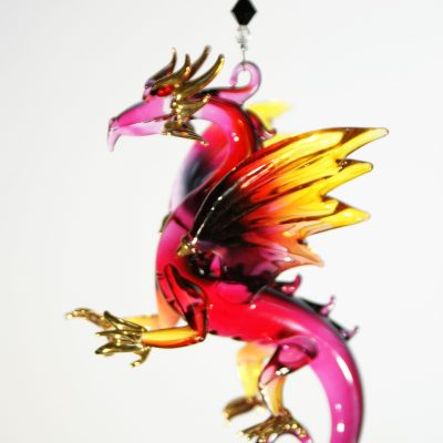 blown glass dragon suncatcher red black