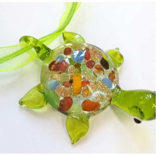 glass turtle charm set of 3