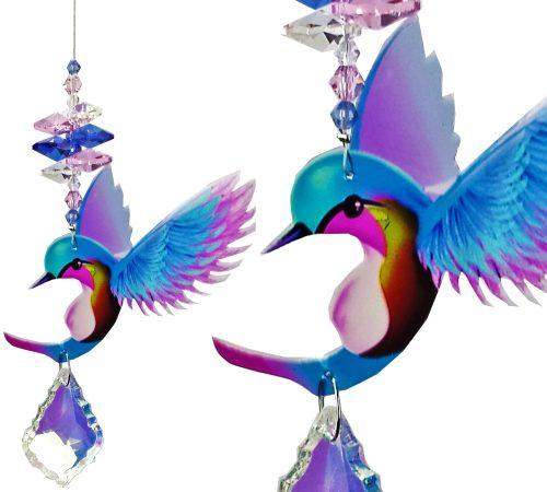 hummingbird crystal suncatcher blue #1