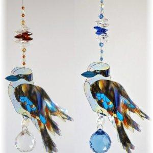 kookaburra crystal suncatcher gift amber-blue