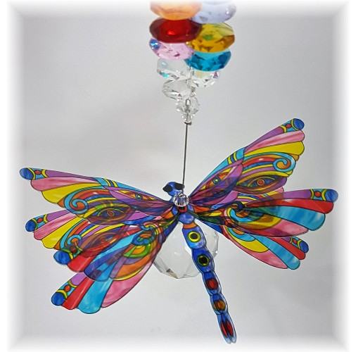 rainbow dragonfly crystal suncatcher