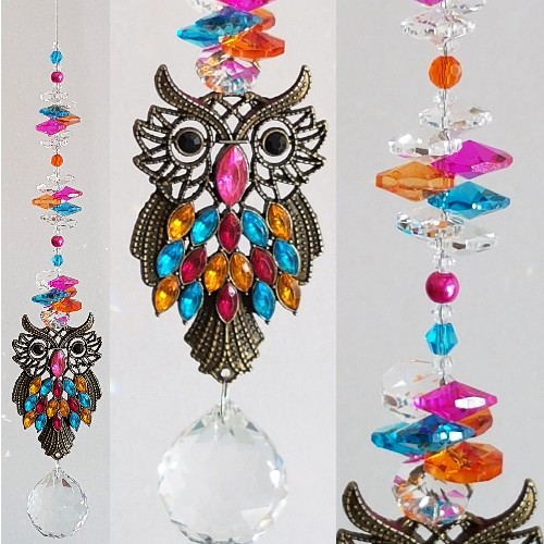 rainbow owl suncatcher #1