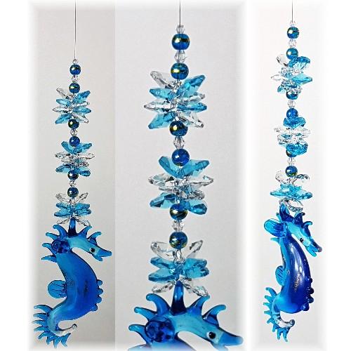 glass seahorse suncatcher large