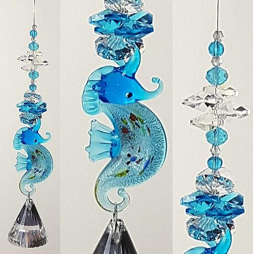 blue seahorse diamond ball suncatcher