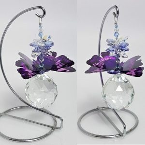 purple butterfly ball suncatcher on stand 1