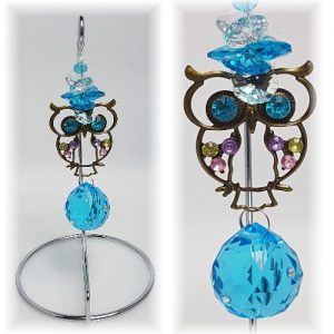 rhinestone owl suncatcher on stand