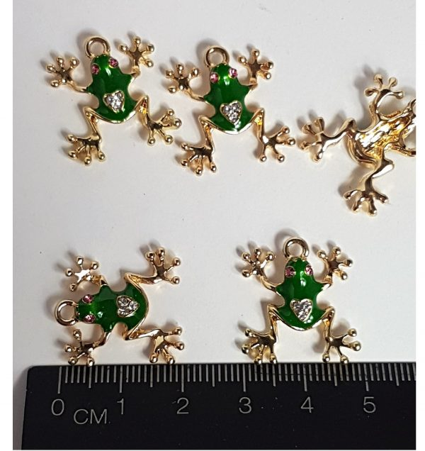 small rhinestone frog charms 2