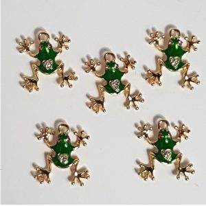 small rhinestone frog charms