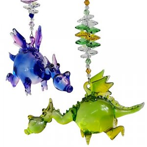 blown glass baby dragon suncathers